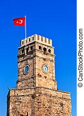 Famous tower in Antalya Turkey