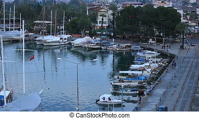 famous town Fethiye tracking shot - time lapse harbor and...