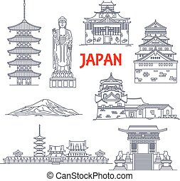 Architecture, religion and nature travel landmarks of Japan icon with mount Fuji, Ushiku Great Buddha, pagoda of Horyuji temple, imperial palace, Osaka castle, Kiyomizu-dera temple, Matsue castle and Toji temple. Thin line style