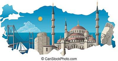concept illustration of turkish famous landmarks on the map background