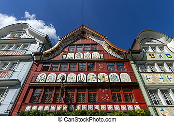 Famous typical houses in Appenzell village, Switzerland -...