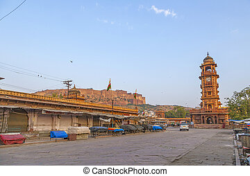 famous victorian clock tower in Jodhpur and view to fort