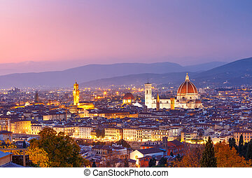 Famous view of Florence at night, Italy