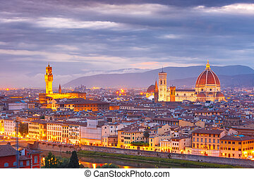 Famous view of Florence at sunset, Italy