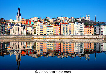 Famous view of Saone river in Lyon city, France