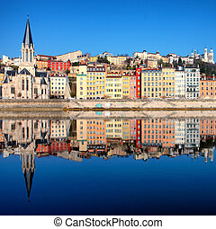 view of Saone river in Lyon city - Famous view of Saone ...