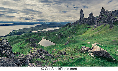 Famous view to Old Man of Storr, Scotland, United Kingdom