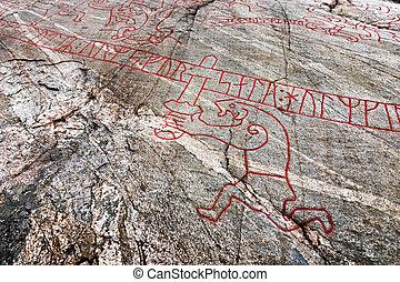 Famous viking rock carving