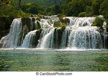 famous waterfall in national park krka - croatia