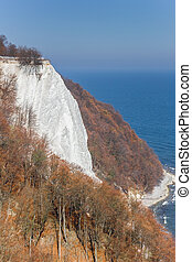 Famous white cliff Konigsstuhl in Jasmund National Park on Rugen island, Germany