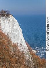 Famous white cliff Konigsstuhl in Jasmund National Park on Rugen island, Germany