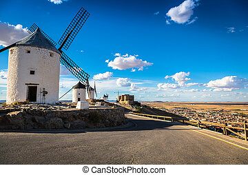 Famous windmills in Consuegra at sunset, province of Toledo, Castile-La Mancha, Spain