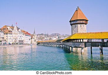 Famous wooden bridge in Lucerne
