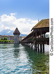 Famous wooden Chapel Bridge in Luzern