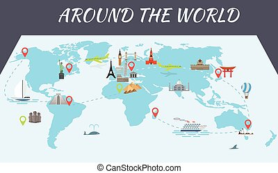Famous world landmarks icons on the map