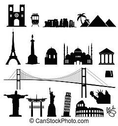 famous world monument international set in black color illustration