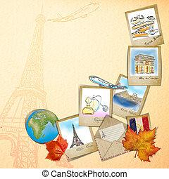 famouse, 写真フレーム, フランス, ランドマーク, 図画