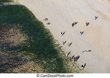 famouse, etretat, strand, från över