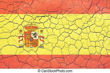 fané, drapeau, craquement, espagnol