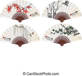 fan art - chinese fan art nature elements