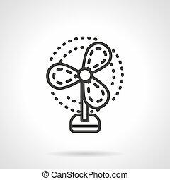 Fan black simple line vector icon - Symbol of fan or...