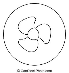 Fan blades icon black color in circle