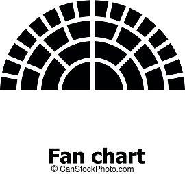 Fan chart icon, simple style. - Fan chart icon. Simple...