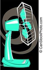 Fan - Illustration of green table fan