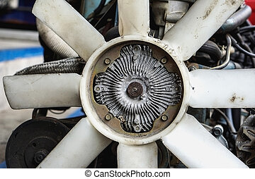 fan, clutch, car, cooling, radiator, engine, parts, metal, automobile, auto, blades, repair, plastic, water, many, viscous, old, cool, dirty, service, part, heat, shop, bearings, grunge, circle, air, vehicle, wind, engineering, motor, aluminum, automotive, turning, used, thermostatic, device, , pulley, coolant, pump