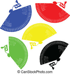 fan color vector illustration