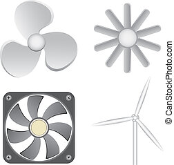 Different fans isolated on the white background