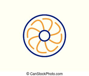 Fan engine line icon. Jet turbine sign. Vector