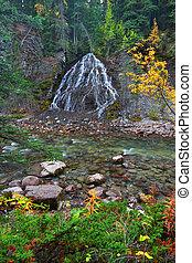 Fan Falls - Jasper National Park - Fan Falls flows down a...