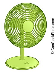fan. green ventilator isolated on white background