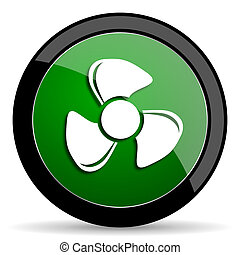 fan green web glossy icon with shadow on white background