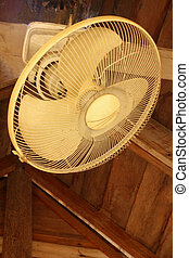 Fan hanging on a wooden beam
