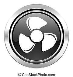 fan icon, black chrome button