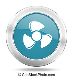fan icon, blue round glossy metallic button, web and mobile app design illustration