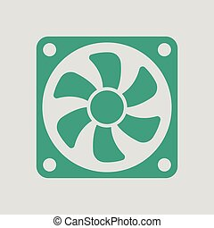 Fan icon. Gray background with green. Vector illustration.