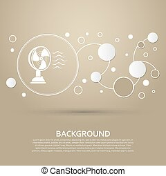 Fan icon on a brown background with elegant style and modern design infographic. Vector