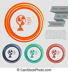 Fan icon on the red, blue, green, orange buttons for your website and design with space text. Vector