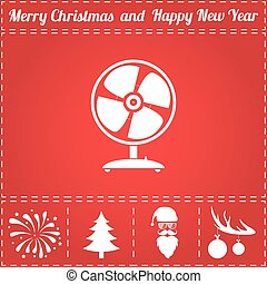 fan icon vector and bonus symbol for new year santa claus christmas tree firework balls on deer antlers