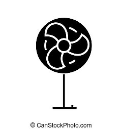 fan icon, vector illustration, black sign on isolated background