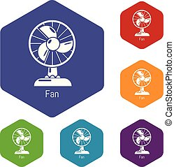 Fan icons vector hexahedron