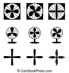 Fan icons. Vector illustration