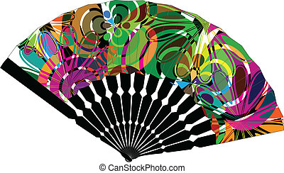 fan illustration with abstract drawing