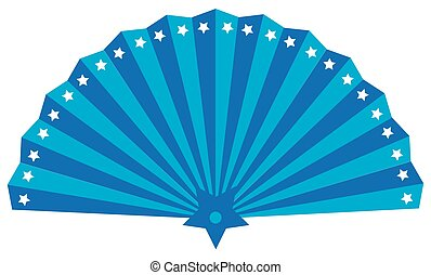 Fan, isolated illustration of utensil for giving air with star draft