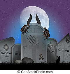 fan, kyrkogård