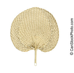 Fan make from dry palm leaf isolated on white