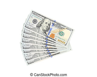 Fan of 100 dollars greenbacks. Isolated on a white background.